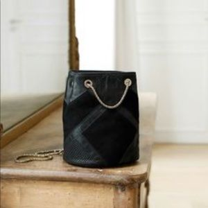 Sezane Hope Bag. Black Patchwork.